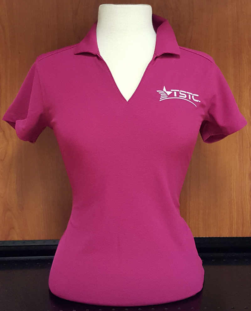 Ladies Pink V Neck Polo Tstc Bookstore Harlingen