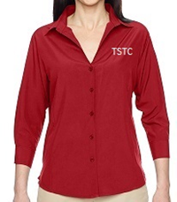 WOMENS NAVY OR RED 3/4 SLEEVE DRESS SHIRT